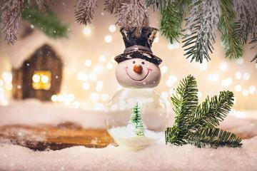 Schneekugel Postkarte Hintergrund