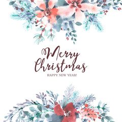 Tender christmas background in watercolor style