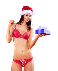 Santa woman in red lingerie with gift box