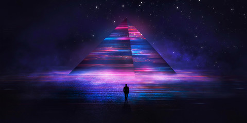 Fotomurales - Futuristic abstract night neon background. Light pyramid in the center. Night view of the pyramid illumination. Neon lights reflected on wet asphalt.