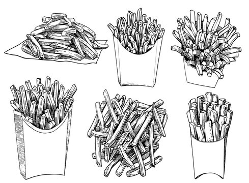 Graphical set of french fries isolated on white background,vector illustration, fast  food
