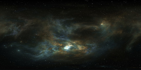 360 degree giant nebula after a supernova explosion, equirectangular projection, environment map. HDRI spherical panorama.