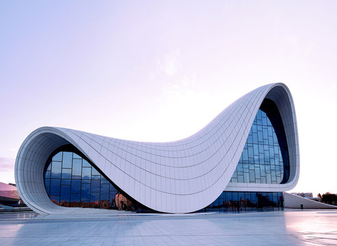 Heydar Aliyev Center. designed by Zaha Hadid. Center houses a conference hall, gallery and museum. Baku, Azerbaijan, 27.04.2017