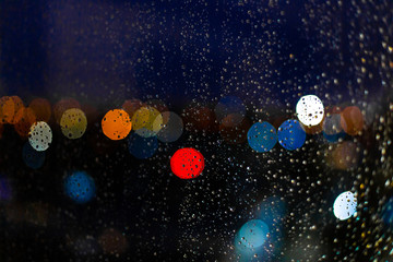 Water drop at windows and bokeh of city in sunset Fotomurales