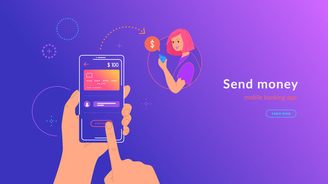 Mobile banking and sending money from credit card via electronic wallet app