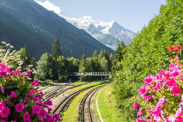 Summer in Chamonix Mont Blanc, a ski resort at the foot of Mont Blanc, in the Alps of eastern France.