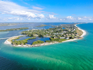 Aerial view of Longboat Key town and beaches in Manatee and Sarasota counties along the central...