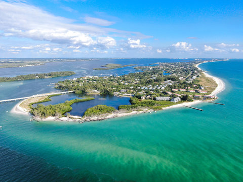 Aerial view of Longboat Key town and beaches in Manatee and Sarasota counties along the central west coast of the U.S. state of Florida,