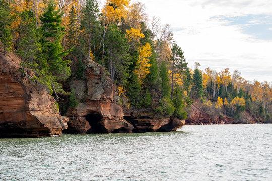 Apostle Islands mainland sea caves along the Bayfield Peninsula along Lake Superior in Wisconsin