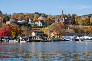 Cityscape view of Bayfield Wisconsin, as seen from the shores of Lake Superior