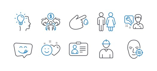 Set of People icons, such as Repairman, Blood donation, Idea, Yummy smile, Restroom, Id card, Sharing economy, Engineer, Smile, Problem skin line icons. Repair service, Injury. Vector