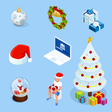 Isometric set of graphic elements for Christmas cards. New Year elements.