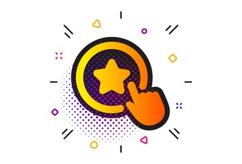 Bonus points. Halftone circles pattern. Loyalty star icon. Discount program symbol. Classic flat loyalty star icon. Vector