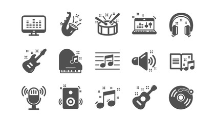Music icons. Guitar, Musical note and Headphones. Jazz saxophone classic icon set. Quality set. Vector
