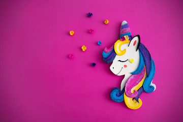 Unicorn over colorful background