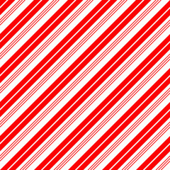 Christmas Candy Cane Stripes Seamless Vector Pattern in Red and White. Popular Winter Holiday Backdrop. Variable Width Stripes. Diagonal Lines Background. Repeating Tile Swatch Included.