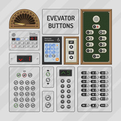 Elevator buttons vector lift metal push button on control panel numbers in business office building illustration set of moving up down level at hotel isolated on background