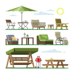 Garden furniture vector table chair seat on terrace design outdoor in summer backyard outside illustration gardening relaxation set of furnished armchair isolated on white background