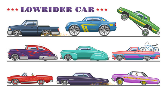 Car vector vintage low rider auto and retro old automobile transport illustration set of classic lowrider muscle vehicle rod transportation isolated on white background