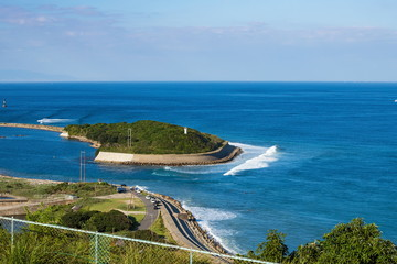 Island and waves on Kitan channel ,Awaji island ,Hyogo,Japan