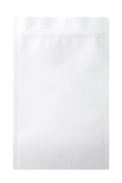 White paper zipper bag packaging. Isolated on white background.