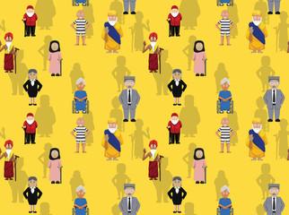 Oldman Cartoon Character Vector Illustration Seamless Background Wallpaper Pattern-01