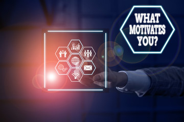 Word writing text What Motivates Youquestion. Business photo showcasing know reasons why you want to wake up each morning Picture photo system network scheme modern technology smart device