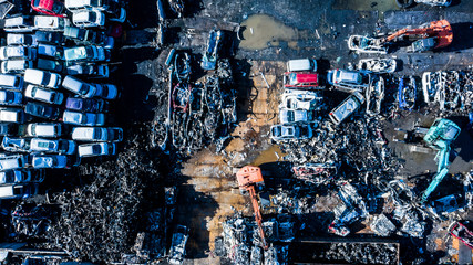 自動車の廃品処理 空撮