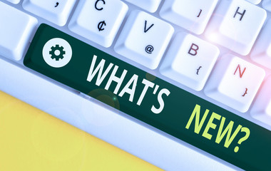 Word writing text What S New Question. Business photo showcasing when you ask someone about his current live events actions White pc keyboard with empty note paper above white background key copy