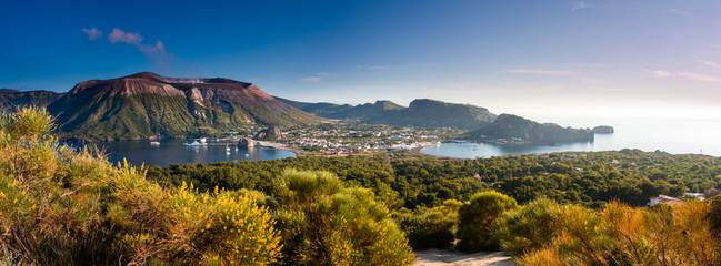 Panoramic view of Vulcano an aeolian island