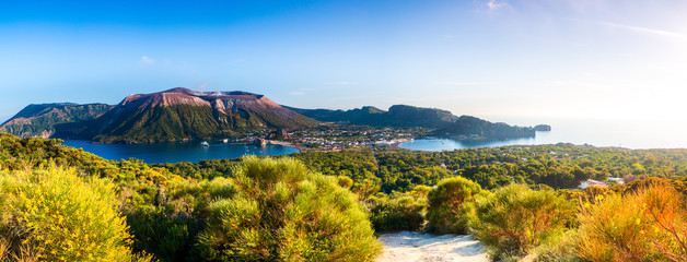 Fotorollo Himmelblau Panoramic view of Vulcano in the aeolian island a volcanic archipelago