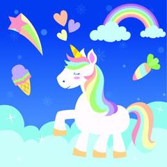 Printed roller blinds Pony cute rainbow unicorn