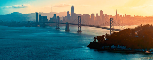 Zelfklevend Fotobehang Kust Aerial view of the Bay Bridge in San Francisco, CA