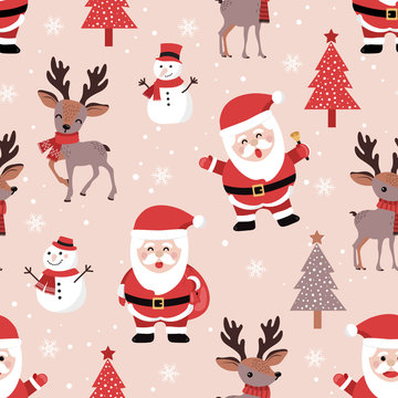 Christmas seamless pattern with santa and reindeer background, Winter pattern with snowflakes, wrapping paper, pattern fills, winter greetings, web page background, Christmas and New Year