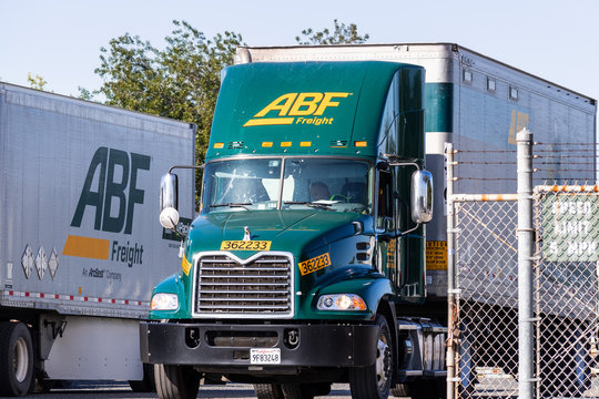 July 31, 2019 San Jose / CA / USA - ABF truck parked at the Company's facility in South San Francisco Bay Area