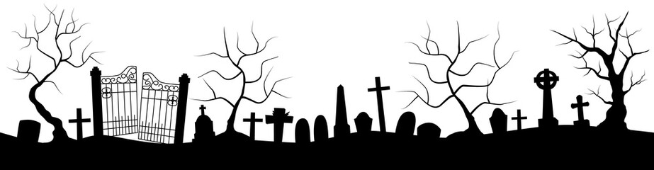 Horizontal banner with black silhouette of cemetery and trees on a white background. Nightmare landscape. Halloween vector illustration for sticker, banner, invitation, poster