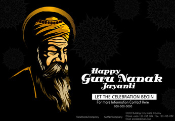 illustration of Happy Gurpurab, Guru Nanak Jayanti festival of Sikh celebration background