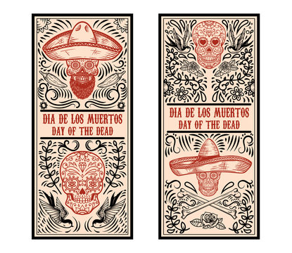 Set of Day of the dead (Dia de los muertos) flyer templates. Design element for poster, card, banner. Vector illustration