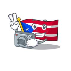 Photographer flag puerto rico on a cartoon