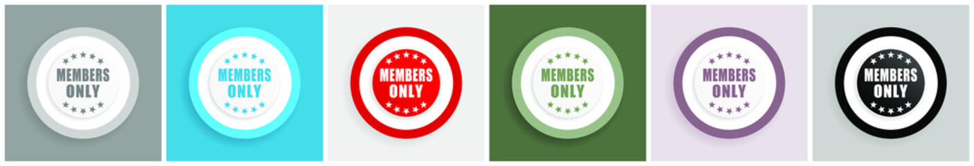 Members only icon set, colorful flat design vector illustrations in 6 options for web design and mobile applications