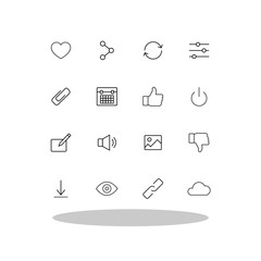 Basic icon set in flat style. Interface line symbols for your web site design, logo, app, UI Vector EPS 10.