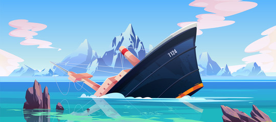 Shipwreck accident, ship run aground sinking in ocean, vessel going under water surface on seascape background with rocks, mountains and cloudy sky, marine transport crash. Cartoon vector illustration