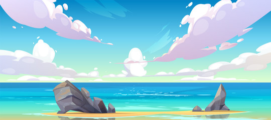 Wall Murals Purple Ocean or sea beach nature landscape with fluffy clouds flying in sky and rocks sticking up from sand in coastline. Morning or day time summer tranquil seascape background, Cartoon vector illustration