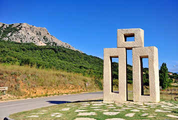 Monument to glagolitic letters on Krk island