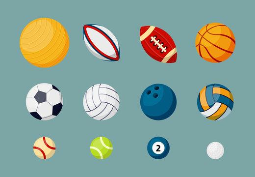 Various sports balls flat vector illustrations set