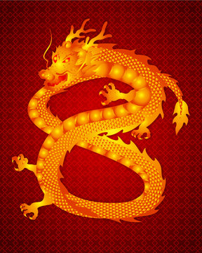 Chinese traditional template with chinese dragon number eight on red Background as lucky and infinity concept,vector illustration