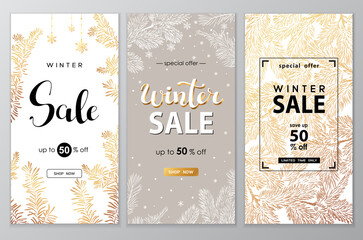 Winter sale vector poster set with discount text and snow elements for shopping promotion.