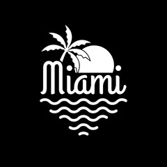 Miami logo. Miami beach banner with palm, sun and sea. T-shirt typography design. Apparel graphic. Vector illustration.