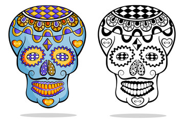 Day of the dead, Mexican sugar skull on white background.