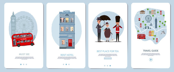 Mobile app onboarding screens set. London Travel guid, landmark, city map, rent hotel. Menu vector banner template for website and mobile development. Web site design flat illustration.